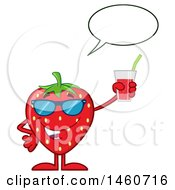 Poster, Art Print Of Strawberry Mascot Character Wearing Sunglasses Talking And Holding A Glass Of Juice