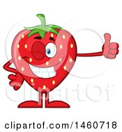 Clipart Of A Strawberry Mascot Character Giving A Thumb Up Royalty Free Vector Illustration by Hit Toon