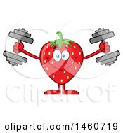 Clipart Of A Strawberry Mascot Character Working Out With Dumbbells Royalty Free Vector Illustration by Hit Toon