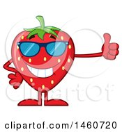 Clipart Of A Strawberry Mascot Character Wearing Sunglasses And Giving A Thumb Up Royalty Free Vector Illustration by Hit Toon