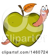 Green Apple With A Worm