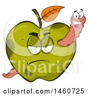Grumpy Green Apple With A Worm
