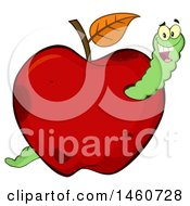 Clipart Of A Red Apple With A Worm Royalty Free Vector Illustration