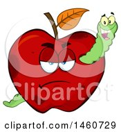 Clipart Of A Grumpy Red Apple With A Worm Royalty Free Vector Illustration