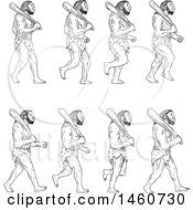 Clipart Of A Set Of Cavemen Walking With Clubs In Sketched Drawing Style Royalty Free Vector Illustration by patrimonio