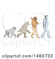 Clipart Of A Line Of Human Evolution In Sketched Drawing Style Royalty Free Vector Illustration by patrimonio