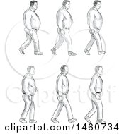 Set Of A Man Walking Going From Fat To Thin In Sketched Drawing Style