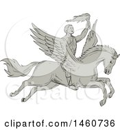 Clipart Of A Bellerophon Hero Riding Pegasus In Sketched Drawing Style Royalty Free Vector Illustration