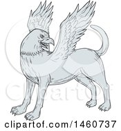 Clipart Of A Chamrosh Mythical Creature In Sketched Drawing Style Royalty Free Vector Illustration by patrimonio