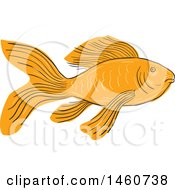 Clipart Of A Gold Butterfly Koi Fish In Sketched Drawing Style Royalty Free Vector Illustration