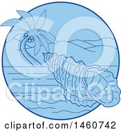 Sea Snail In A Blue Circle With A Palm Tree