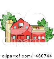 Vintage Red American Barn With Leaves In Mono Line Style