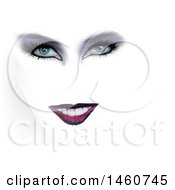 Womans Face With Dark Eyeshadow And Lipstick Fading Into White
