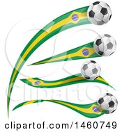 Clipart Of 3d Soccer Balls And Brazilian Flags Royalty Free Vector Illustration by Domenico Condello