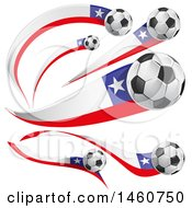 June 24th, 2017: Clipart Of 3d Soccer Balls And Chilean Flags Royalty Free Vector Illustration by Domenico Condello