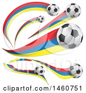June 24th, 2017: Clipart Of 3d Soccer Balls And Colombian Flags Royalty Free Vector Illustration by Domenico Condello