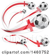 Clipart Of 3d Soccer Balls And English Flags Royalty Free Vector Illustration