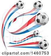 Clipart Of 3d Soccer Balls And French Flags Royalty Free Vector Illustration by Domenico Condello
