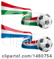 Clipart Of 3d Soccer Balls And French And Italian Flags Royalty Free Vector Illustration by Domenico Condello