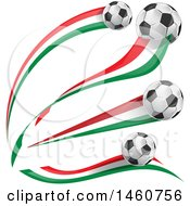 Clipart Of 3d Soccer Balls And Italian Flags Royalty Free Vector Illustration