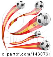 Clipart Of 3d Soccer Balls And Spanish Flags Royalty Free Vector Illustration