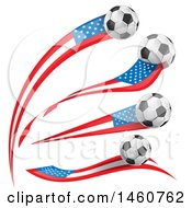 June 24th, 2017: Clipart Of 3d Soccer Balls And American Flags Royalty Free Vector Illustration by Domenico Condello