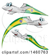 Clipart Of Happy Airplanes With Brazil Flags Royalty Free Vector Illustration by Domenico Condello