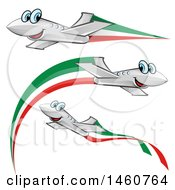 Clipart Of Happy Airplanes With Italian Flags Royalty Free Vector Illustration