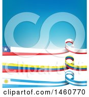 June 24th, 2017: Clipart Of Chilean Uruguayan And Colombian Flag Banners On White And Blue Royalty Free Vector Illustration by Domenico Condello