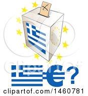 Poster, Art Print Of Greek Ballot Box Flag And Euro