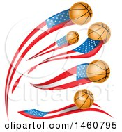 Clipart Of American Flag And Basketball Banners Royalty Free Vector Illustration by Domenico Condello