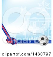 Clipart Of 3d Soccer Ball And Australian Background Royalty Free Vector Illustration