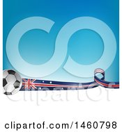 Clipart Of A 3d Soccer Balls And Australian Flag Ribbon Over White Space And Gradient Blue Royalty Free Vector Illustration