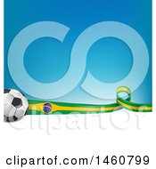Clipart Of A 3d Soccer Balls And Brazilian Flag Ribbon Over White Space And Gradient Blue Royalty Free Vector Illustration
