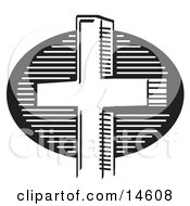 Black And White Church Cross Clipart Illustration