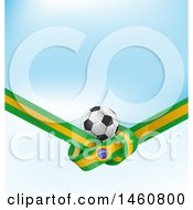 Clipart Of 3d Soccer Ball And Tied Brazilian Flag Over Blue Royalty Free Vector Illustration