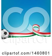 Clipart Of A 3d Soccer Balls And Italian Flag Ribbon Over White Space And Gradient Blue Royalty Free Vector Illustration