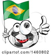 Soccer Ball Mascot Giving A Thumb Up And Holding A Brazilian Flag
