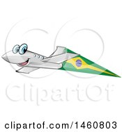 Clipart Of A Happy Airplane With A Brazil Flag Royalty Free Vector Illustration