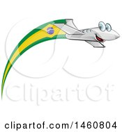 Clipart Of A Happy Airplane With A Brazil Flag Royalty Free Vector Illustration by Domenico Condello