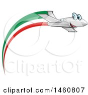 Clipart Of A Happy Airplane With An Italian Flag Royalty Free Vector Illustration