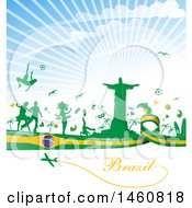 Clipart Of A Brazil Flag And Travel Background Royalty Free Vector Illustration