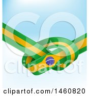 Clipart Of A Brazil Flag Banner Knot Background Royalty Free Vector Illustration