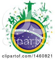 Clipart Of A Brazil Flag Globe And Icons Royalty Free Vector Illustration