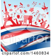 Clipart Of A French Flag And Travel Icon Background Royalty Free Vector Illustration by Domenico Condello