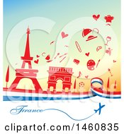 Clipart Of A French Flag And Travel Icon Background Royalty Free Vector Illustration