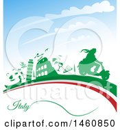 Clipart Of An Italian Flag And Icons Royalty Free Vector Illustration by Domenico Condello