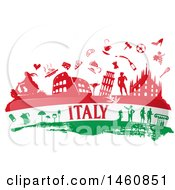 Clipart Of An Italian Flag And Icons Royalty Free Vector Illustration