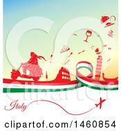 Clipart Of An Italian Flag And Travel Icon Background Royalty Free Vector Illustration