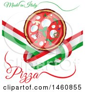 Clipart Of An Italian Flag And Pizza Design Royalty Free Vector Illustration
